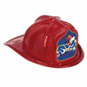 Red Plastic Fire Chief Hat (Dalmatian Shield)