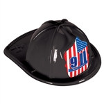 9/11 Black Plastic Fire Chief Hat