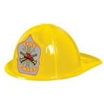 Yellow Plastic Fire Chief Hat (Silver Shield)