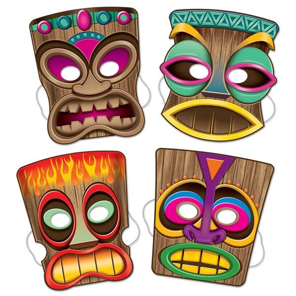 Tiki Masks (4/pkg) - PartyCheap