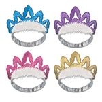 Become instant royalty by wearing one of these fashionable Coronet Tiaras. The flexible headband will fit most size heads and each package comes with four different colors of tiaras. Four Coronet Tiaras per package.