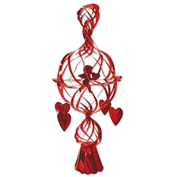 Celebrate Valentine's Day and express your love for your significant other by hanging this Metallic Cupid & Heart at your home. It has an exquisite look and everyone is sure to love it. The decoration measures 29 inches and comes one (1) per package.