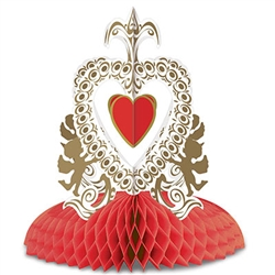 Say I love you in a classic way with this Vintage Valentine Cupid's Heart Centerpiece!