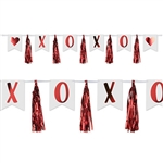 X and O, two letters that can mean so much!  Say it all with the XOXO tassel streamer. It's easy to show how you feel with this 6' long streamer!