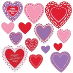 The Valentine's Day Cutouts are made of cardstock and printed on two sides. They come in an assortment of designs. Sizes range in measurement from 4 inches to 12 inches. 14 pieces per package.