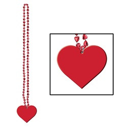 Cinnamon Heart Beads with Heart Medallion (2/pkg)