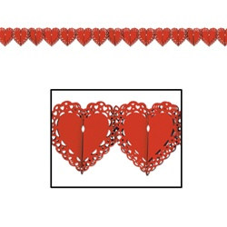 Red Lace Heart Garland