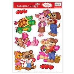 Cuddly Critter Valentine Clings (6/sheet)