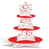 The Valentine Cupcake Stand is made of white cardstock and decorated with red hearts with three red tiers. Measures 16 inches tall. Bottom tier - approx 12 in, middle tier - approx 9 in, and top tier - approx 6 1/4 in. One per pack. Assembly required.
