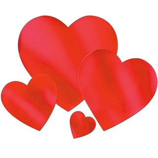 Red Foil Heart Cutouts (Select Size)