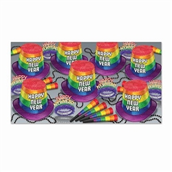 The New Year Pride Asst for 50 has everything you need for you and your friends to ring in the New Year in style! Includes 25 pride hi-hats hats, 25 pride fringed tiaras, 50 pride horns, and 25 party beads!
