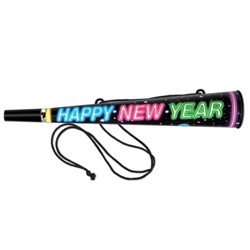 The Mega Horns - Happy New Year are a large 14-inch black plastic horn with an attached cord, allowing it to be easily worn around your neck. Horn displays the sentiment Happy New Year in bright colors. Sold in quantities of 25.