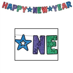 Multi-Color Glittered Happy New Year Streamer