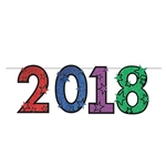Printed on one side of cardstock material, this glittered 2018 streamer features a star design on each number and each number is varied in color. Perfect for a graduation party as well, attach this to your walls, entrance way, or table. One per Package.