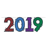 "The ""2019"" Streamer is made of cardstock and printed on one side. It has multicolored numbers and is embellished with stars. Measures 15 inches tall and 6 feet long. Contains one per package. Simple assembly required."