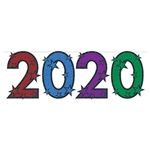 "Welcome in the new year, celebrate a graduation, or honor an anniversary with this bold, colorful 2020 Streamer.  Each glittered digit measures 15"" tall and 10.25"" wide.  Comes with 12 feet of cord for easy hanging.  Simple assembly is required."