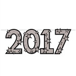 Decorate for your New Years Eve or Graduation party with this black and silver 2017 Glittered Streamer. Measuring 6 feet long, this card stock 2017 Glittered Streamer can be hung along walls, door ways and tables.