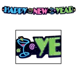 Neon Happy New Year Streamer