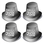 Celebrate the New Year, and invite the whole neighborhood!  Your guests will love these Silver New Year 2020 Hi-Hats.  Sold 25 per package.  Each hat is a full 5 inches tall with and 1.5 inch brim.