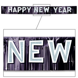 Black and White Metallic Happy New Year Banner