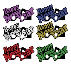 Make sure your party guests see a good time with these multi colored Happy New Years Glasses!  Each package contain 6 pairs of fun glasses to help ring the New Year in right.  One size fits most.