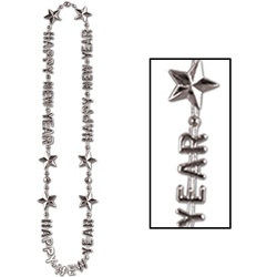 Silver Happy New Year Beads-of-Expression (1/pkg)