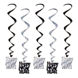 Black and Silver Happy New Year Whirls (5/pkg)