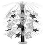 Looking for the finishing touch for the tables at your New Year's Eve party? This Happy New Year Cascade Centerpiece - Black and Silver adds motion, interest and shimmer in a stylishly classic way.