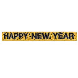 Wish everyone a Happy New Year in a big way with this Gold Metallic Happy New Year Fringe Banner.  A full 5 feet long and 7.5 inches tall, it's easy to hang and reusable with care.  A fun, classic addition to your New Year's Eve decor.