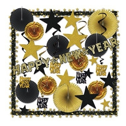 Use the Glistening Gold NY Decorating Kit to decorate your New Year's party quickly and economically. Classic assortment of gold glitter and foil combined with black makes an elegant statement. Kit contains assorted banners, fans, stars and whirls.