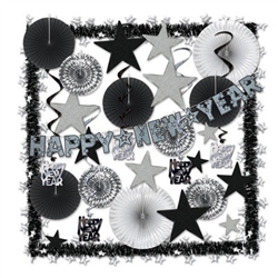 The Shimmering Silver NY Decorating Kit provides over 25 assorted items in a black and silver color scheme. Fans, whirls, star cutouts, garlands, and streamers make it fast, easy, and economical to decorate for any New Years Eve party!
