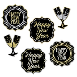 Use this set of 6 New Year Cutouts as wall decorations, table edge decorations, or dangle from the ceiling.  However you decide to use them these black, gold and silver cutouts will add a classic style to your party.
