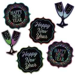 Add a blast of color and fun to your New Year's Eve celebration with these Happy New Year Cutouts. Sold six per package, each cutout is printed both sides on high quality cardstock.  Cutouts range from 7 1/2 to 10 inches tall.