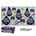 The Neon Midnight Asst for 10 is perfect for a small New Year's Eve gathering. Each kit contains 5 printed party hats, 5 printed tiaras, 10 neon colored horns and 5 plastic neon party bead necklaces. Accessorize up to 10 guests.