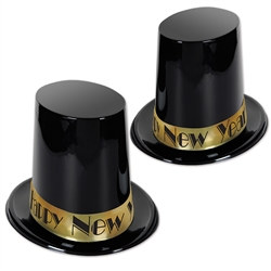 This New Year's hat is an elegant, cheap favor to hand out to your New Year party guests. Get yours now - this super-high plastic top hat is a great design to top off a super-fun New Year party.