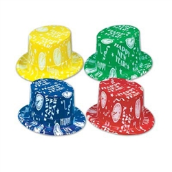 These Almost Midnight Toppers (Assorted Colors) feature a brightly colored plastic hat in one of four colors: blue, red, yellow or green. Each hat features an all-over white print of Happy New Year and various clock faces. Sized to fit most adults.