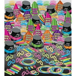 The Neon Glow Super Bonanza Assortment for 100 outfits up to 100 of your New Year's Eve party guests with neon hats, neon tiaras, neon horns, glow necklaces and accessories. Neon blue, green, orange, and pink will give your NYE party an 80's retro vibe!