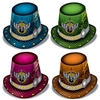 "Rock The New Year Hi-Hats are glam-rock inspired hats featuring the phrase ""Rock The New Year"" along with a winged guitar printed front and center. Made of card stock and printed in assorted colors of blue, green, pink and orange. Sold in quantities of 25"