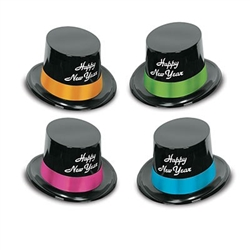 The Neon Legacy Toppers are black plastic top hats with Happy New Years printed in white on the front and a colorful cardstock band around the top. Bands are assorted colors of blue, orange, green, and pink. One size fits most. 25 per pack. No returns.