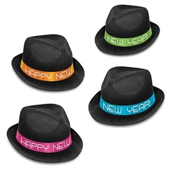 "The Neon Glow Chairman Hats are black plastic hats with velour cover and a cardstock band that reads ""Happy New Year"". Bands come in an assortment of 4 colors: blue, orange, green, and pink. One size fits most. 25 per box. No returns."