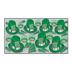 "The Glimmer Of Green Asst for 50 contains enough printed paper hats, horns, and tiaras for up to 50 New Year's Eve party guests. Hat's and tiaras both say ""Happy New Year"". Tiaras contain coordinating green tissue fringe and hats have a silver accent band"