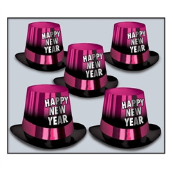Cerise Happy New Year Entertainer Hi-Hat (sold 25 per box)