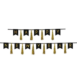 Ring in the New Year with style and class when you add this Black and Gold Happy New Year Tassel Streamer to your decorations.  Each package contains 10 tassels and 12 10 inch tall Pennants strung on black ribbon.   No assembly necessary.