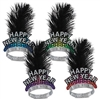 Cheers To The New Year Tiaras feature a Happy New Year card stock front printed in assorted colors of blue, green, purple and red. Adorned with a black feather plume and attached to a metal foil band. Sold in quantities of 50. Adult sized.