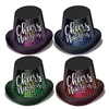 Cheers To The New Year Hi-Hats are an economical favor for your New Years Eve party guests! Cheers to the New Year is printed in silver on a background of bubbles in colors of either blue, green, purple and red. Priced per hat & sold in quantities of 25.