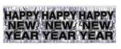 Silver Metallic Happy New Year Banner