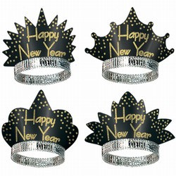Sparkling Black and Gold New Year Tiaras (sold 50 per box)