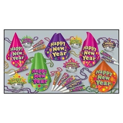 Color-Brite Asst for 10 features party hats, horns, tiaras, and bead necklaces for up to 10 New Year's Eve party guests. All items are in color-coordinating bright colors. Ring in the New Year in style with this classic assortment of party favors.
