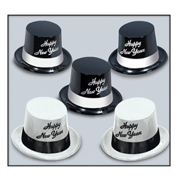 Black and White Happy New Year Legacy Top Hats