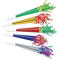 Assorted Foil Horns with Tassel, 11 in (sold 100 per box)